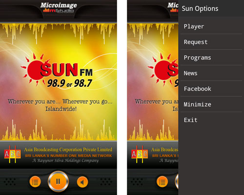 Sun FM App Screenshots
