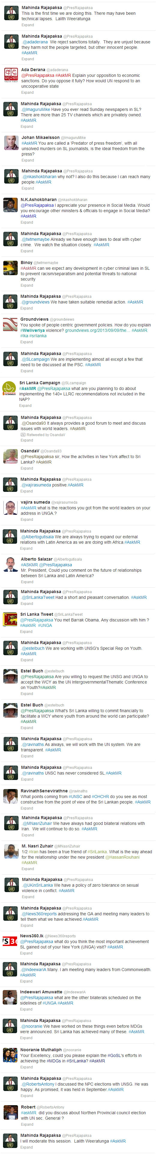 #AskMR Twitter Q&A with President Rajapaksa